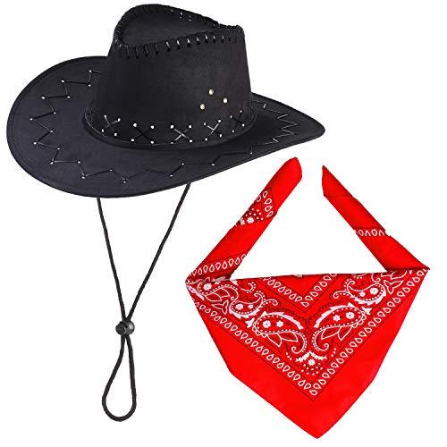 Beefunny Cowboyhut Mit Cowboys Zubehör-Western Sheriff Bandana Stirnband Geschenksets für Erwachsene und Kinder (Schwarz)