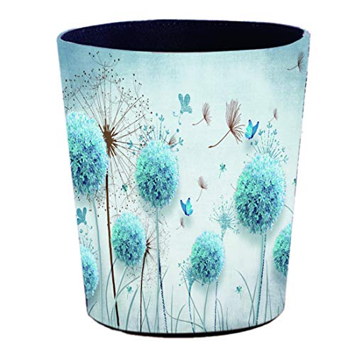 Batop Papierkorb, 7L Wasserdicht PU Leder Vintage Mülleimer Dekorativ Papierkorb für Wohnzimmer, Büro, Schlafzimmer - Löwenzahn