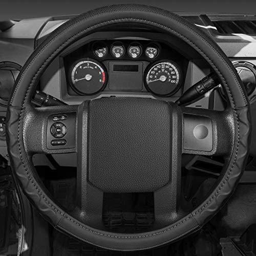 BDK-SW-351 Motor Trend Ergonomic Leather Grip Steering Wheel Cover for Big Rigs Trucks and Semis 18' Large Heavy Duty Non Slip Long Haul/Long Drives,Comfort leather (Black)