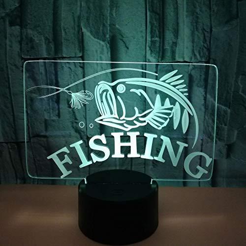 3D Veilleuse Enfant LED Lampe de Chevet Optiques Illusions Lampe de Nuit 7 Couleurs Ajustables Câble USB Cadeau Jouets (Pêche),Interrupteur Tactile