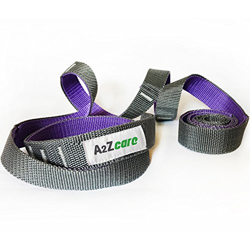 A2ZCARE Yoga Stretch Strap with Multi-Loop 76 inches Long, 1 inch Wide - Exercise Stretching Strap for Yoga Practice, Pilates Exercise, Dance, Fitness and Physical Therapy Rehab (Purple/Gray)