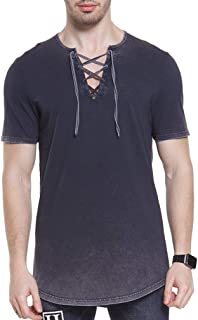 Men T- Shirt Lace up Hoodie Distressed Lightweight Vintage Designs Hip hop Shirt