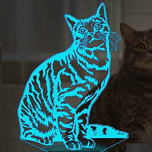 3D Ilusión óptica Lámpara LED cat Luz de noche Deco 7 colores usb Decoracion Dormitorio escritorio mesa para niños adultos del partido cumpleaños Luces nocturnas de mesa