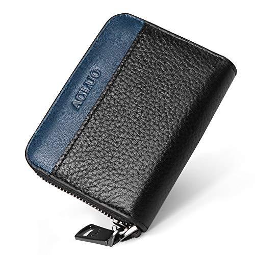 小銭入れ メンズ 本革 コインケース カードケース YKK L字ファスナー コンパクト 財布 (ブラック×ブルー)