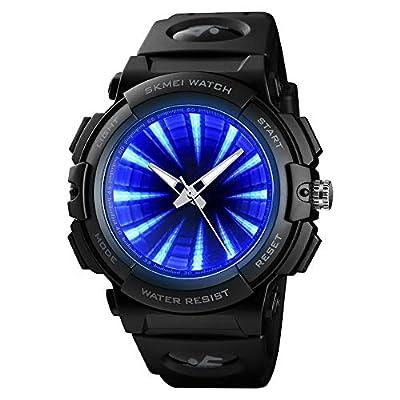 SKMEI Men's Sports Watch, Creative LED Screen Military Watches Waterproof Watches Men
