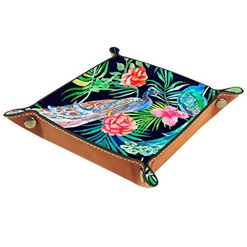 TIKISMILE Bandeja de almacenamiento con hermoso patrón de pavo real de piel para pintalabios, organizador de cosméticos, bandeja para el hogar, oficina y escritorio, para llaves o llaves