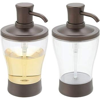 Dosificador de ba/ño o Cocina de hasta 444 ml Dosificadores de Cristal con Cabezal de pl/ástico Transparente//Negro Mate mDesign Juego de 2 dispensadores de jab/ón Recargables