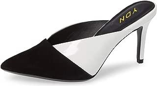 Women Pointed Toe Mid Heel Clogs Mules Slip on Patchwork V Cut Sandals Slide Dress Shoes