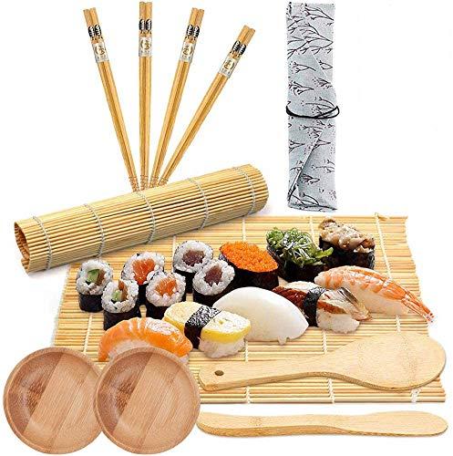 BESTZY 11PCS Sushi Set– Set per Sushi per Principianti (2 tappetini per Sushi in bambù + 1 spargisale + 1 pagaia Paddy + 4 Bastoncini + 1 Sacco+2 Piccolo Piatto)