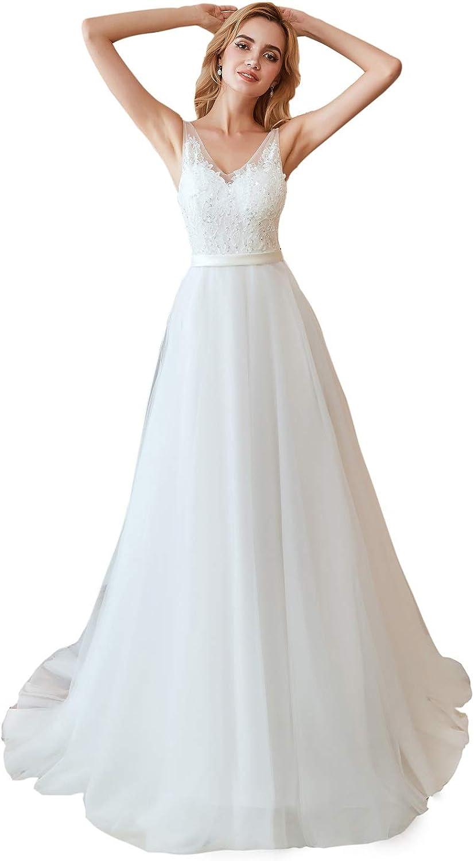 Leyidress Wedding Dress Bridal Gowns Bead Ivroy A Line Dress For Women Wedding
