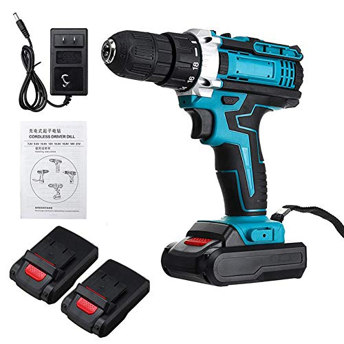FYYTRL Cordless Drill Driver, 48V Impact Lithium Combi Drills with 2 Battery, 20-Speed Torque Adjustment Non-Slip Hammer Drill Set, for Wood, Concrete, Steel Plate, Screwdriver