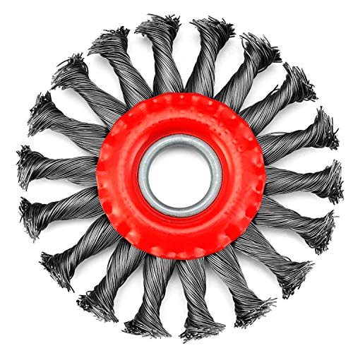 TILAX Wire Wheel Brush, Knotted Twist Wire Wheel for Angle Grinder with 7/8 Inch Arbor, 4-1/2 Inch Diameter and 0.019 Inch Carbon Steel Wire, for Heavy-Duty Use of Various Metals