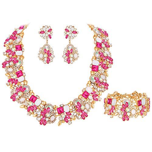 EVER FAITH Gioielli Donna, Cristallo Vintage Floreale Girocollo Chunky Choker Collana Orecchini Bracciale Set Rosa Antico Oro-Fondo