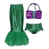 ranrann Traje de Baño Sirenita Lentejuelas para Niña Disfraz de Sirena Princesa Crop Top + Falda Cola de Sirena Tankini Ropa de Playa Piscina Swimsuit Verde&Morado 9-10 años