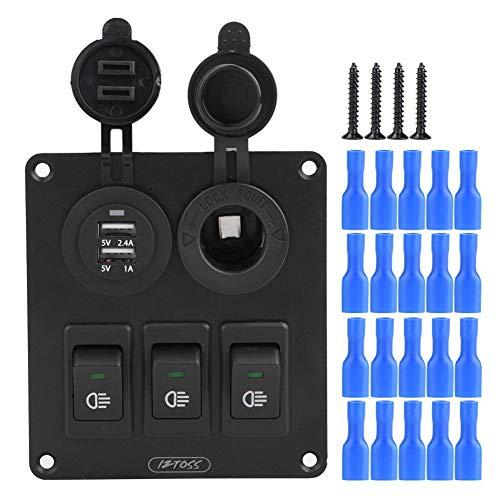 Panel del interruptor de eje de balancín de 3-gang de combinación LED de automóvil, Impermeable, con cargador USB doble encendedor de cigarrillos Socket 12V / 24V(LED verde)
