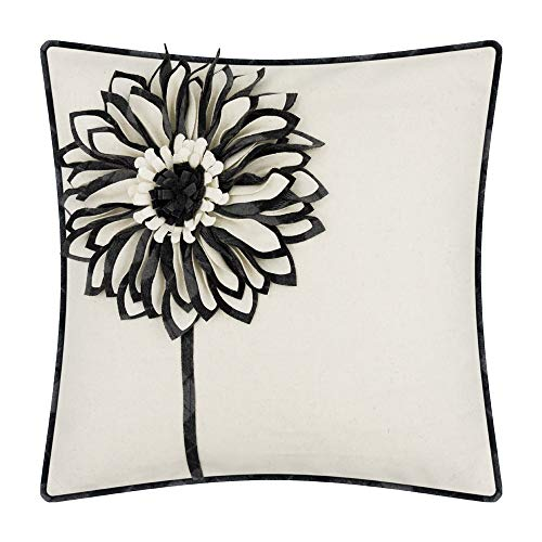 JWH 3D Sunflower Throw Pillow Case Decorative Wool Cushion Cover Handmade Flowers Couch Home Bed Living Room Decor Stereo Pillowcase Gifts 18 x 18 Inch