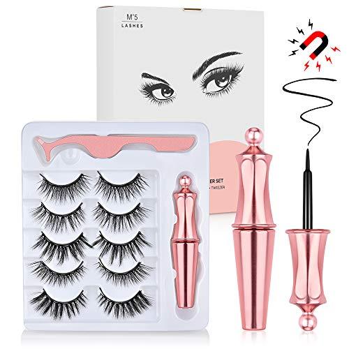 Magnetische Wimpern, HailiCare Magnetischer Eyeliner Set, 3D Falsche Eyelashes Mit Wasserdichtem Gel Freiem Magnetische Eyeliner Wiederverwendbare mit Magnetischer Eyeliner und Pinzette (5 Paar)