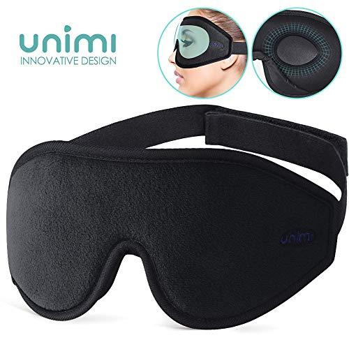 Unimi Augenmaske zum Schlafen, 3D Konturierte Schlafmaske und Augenbinde für Frauen, Männer, Superweich und bequem, 100{af38239ddfea91a98045928306fa0e358771840e3c2a62e7eb4dbe0ffa0929e9} Licht blockierend,3D-Augenschutz für Reisen, Schichtarbeit, Nickerchen.