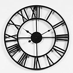 LightInTheBox Rustic 3D Black Wall Clock Operated Battery 20 Large Clock Non-Ticking for Living Room Office (A, 20X20)