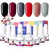 Janolia Esmaltes Semipermanente, 8pcs Kit Esmaltes de UV, 6 Colores y Capas Superior y Base, Gel Barniz Semipermanente