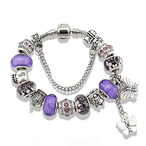 Mother Charms Bracelet for Girls and Women Murano Glass Beads Butterfly Flower Charms Amethyst Bracelets (Purple butterfly bracelet)