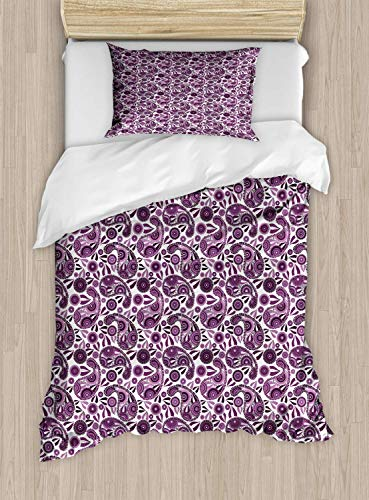 Purple Paisley Single Bedding Duvet Cover 2 Piece, Inspired Illustration with Floral Leafy, Soft Bedding Protects Set with 1 Comforter Cover 1 Pillowcase, Pale Purple Dark Purple Plum White