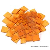 Milltown Merchants Amber 7/8' Stained Glass Squares 1 lb - Copper Transparent Stained Glass Cobbles - Broken Glass Square Chips for Stepping Stones and Crafts - Bright Color Glass Coblets