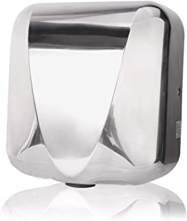 VALENS Hand Dryer Commercial for Bathroom, Automatic Hand Dryers 224 mph with HEPA Filter, High Speed 1800W, Hot or Cold Air Available, Polished Silver (1 pc)
