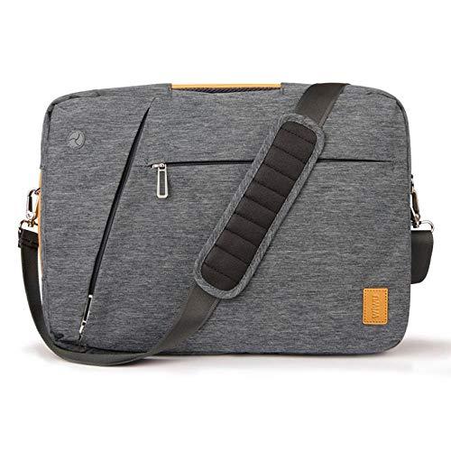 WYALM Laptop Backpack 17.3 15.6 15.4 14 Men's Backpack Laptop Bag Canvas Waterproof Backpack Leather Bag for MacBook Pro 15 Dark Grey Backpack (Color : Dark Grey, Size : 15.6-inch)