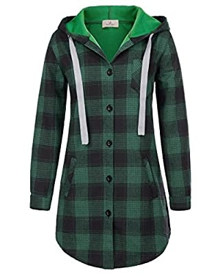 GRACE KARIN Women Long Sleeve Flannel Plaid Checker Hood Button Down Shirt Top