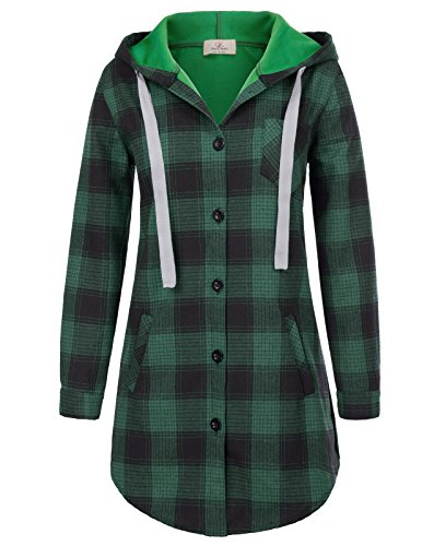 Ladies Checkered Plaid Cotton Shirt Long Sleeve Button Down Hooded Blouse M Green