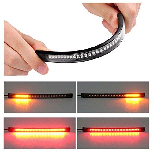 Tira LED ZHUOTOP para luz de freno o señal de giro de motocicleta con 48 LED, universal y flexible