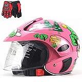 ZJRA Motorrad-Sturzhelm Für Kinder, Jugend Helm, Teenager-Fahrrad ATV Scooter Moped Skateboard, Allround-Helm, 53~56 cm, Junge Mädchen, Geschenk-Handschuhe,2
