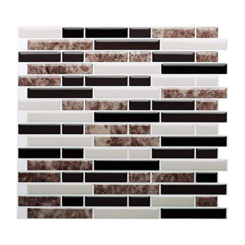 teng hong hui Removable Self Adhesive Decals Irregular Long Stone Tile Backsplash Wall Sticker Backsplash PET PET 3D Mosaic Tile Wall Stickers Kitchen Wallpaper