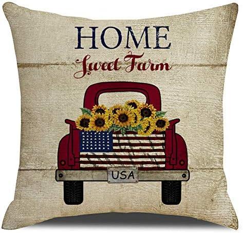 KACOPOL Vintage Farmhouse Red Truck with Sunflower Pillow Covers Farm Decorative Cotton Linen product image