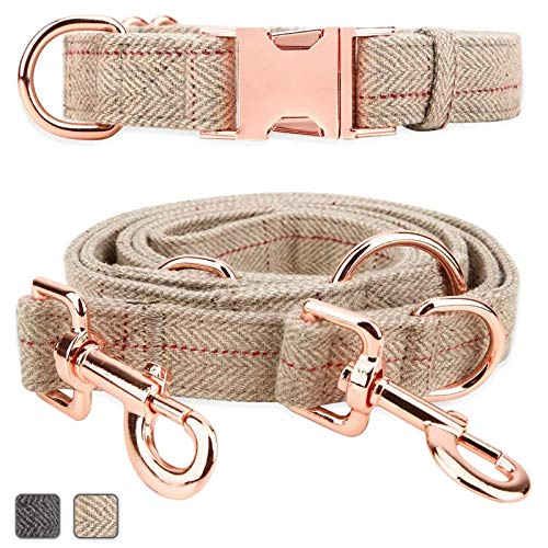 Rose Gold Dog Collar and Lead(2m) Set   Exceptionally Elegant & Adjustable   3 Adjustable Lengths Dog Leash   Soft and Easy to Clean(Beige;M(13.8'-19.7'))