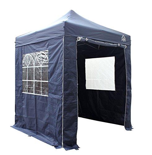 All Seasons Agzebos Pavillon Ultra-résistant à Ouverture instantanée de 2m x 2m avec 4 Panneaux latéraux Ultra-résistants + Sac de Transport sur Roues et 4 Sacs de Poids pour Les Pieds.(Bleu Marine)