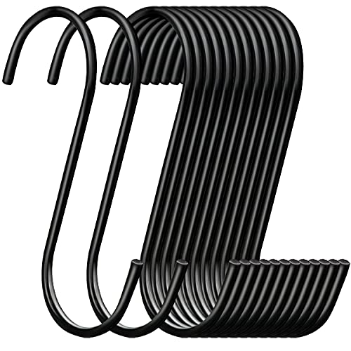 30 Pack ESFUN Heavy Duty S Hooks Black Steel S Shaped Hooks for Hanging Pans Pots Plants Bags Towels Kitchen Hooks Hanger, Large 3.5 inch