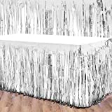 4 Packs Metallic Foil Fringe Table Skirt Tinsel Table Skirt Disposable Table Skirt Banner for Rectangle Tables Wedding Birthday Holiday Parties Decoration (Silver)