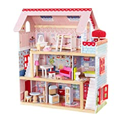 3 levels, 5 rooms and a balcony Windows open and close Finely detailed artwork; Materials: MDF, Wood, Fabric, Plastic Smart, sturdy wood construction Packaged with detailed, step-by-step assembly instructions This adorable dollhouse comes with a whop...