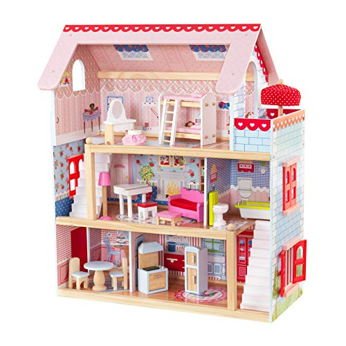 KidKraft 65054 Chelsea Cottage Wooden Dolls House with Furniture and Accessories Included, 3 Storey Play Set for 12 cm Dolls
