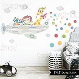 Vinilo niño Avión con animales 110x45 cm- Vinilos infantiles - T1 - Pequeño