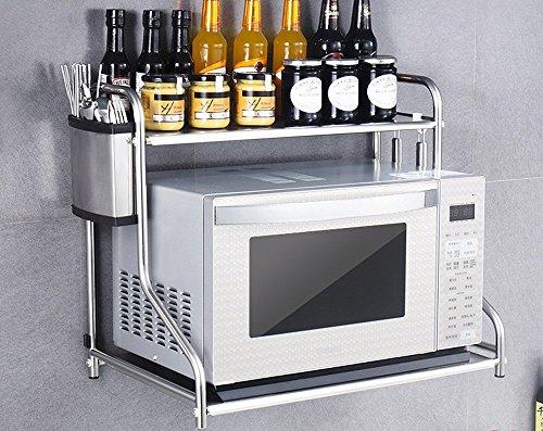 ILQ Cuisine Étagère Four à micro-ondes plancher en acier inoxydable Pot Pot ustensiles de cuisine étagère de rangement double étagère,CC,48 * 37 * 53 cm