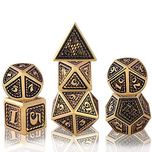 Schleuder D&D Dadi di Metallo Poliedrico Dice Set, DND Dadi da Gioco di Ruolo Set Dadi per Rpg Dungeons & Dragons Pathfinder Insegnamento della Matematica Gioco da Tavolo (Imitation Gold - Black)