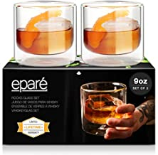 9 oz Whiskey Glasses - Set of 2 - Double Wall Bourbon Rock Glassware for Bar Gifts - Whisky Scotch Old Fashioned or Liquor Cocktail Tumbler - Perfect Fathers Day Gifts by Eparé