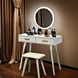 VINGLI Vanity Table Set with Lighted Mirror White Makeup Table Set with Touch Screen Dimming Light in 3 Color Modes Women Girls Dressing Table with Cushioned Stool in Bedroom