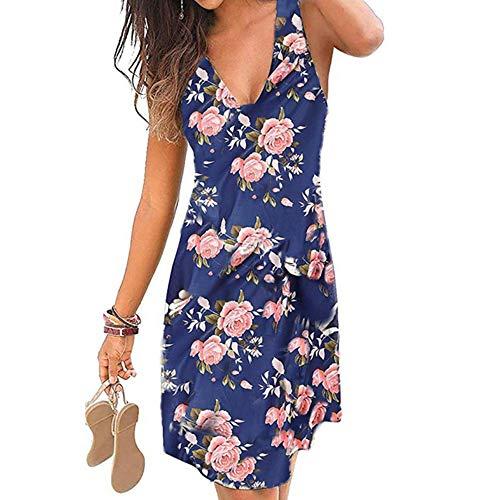 Vestido sin mangas para mujer, cuello en V, informal, espalda descubierta, estampado fino, vestido de fiesta, vestido de playa Azul y rosa XXXXXL