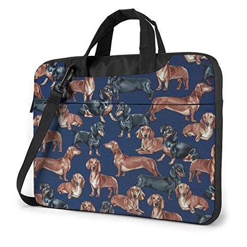 Laptop Tote Bag, Dachshunds Functional Laptop Messenger Bag with Handle Fits 13-15.6in Notebook 14 in
