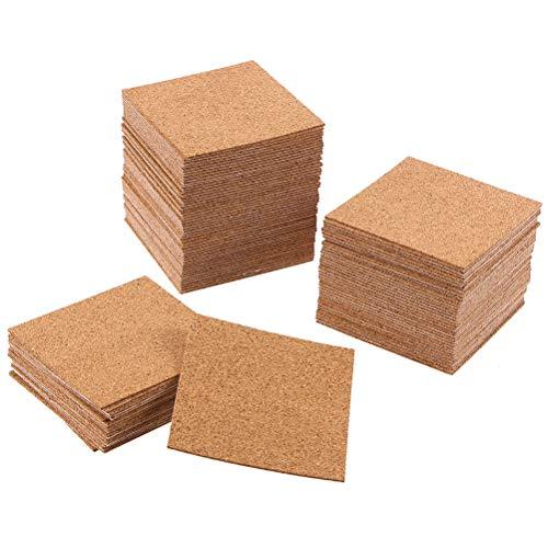 SUPVOX 10PCS Square selbstklebende Korkplatten Coaster Square Kork Untersetzer für Untersetzer und DIY Bastelbedarf