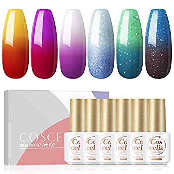 Color Changing Nail Polish Set 6Pcs Mood Gel Nail Polish Kit Summer Color Collection Gift Nails Set Glitter Purple Red Yellow Blue Green Soak Off Long Lasting Gel Nails